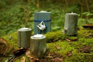 Teelichthalter blau lasiert