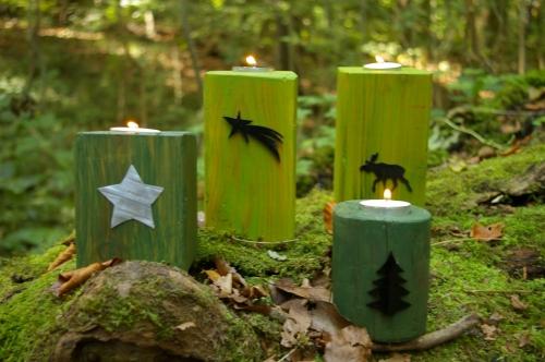 Teelichthalter aus Restholz grün lasiert