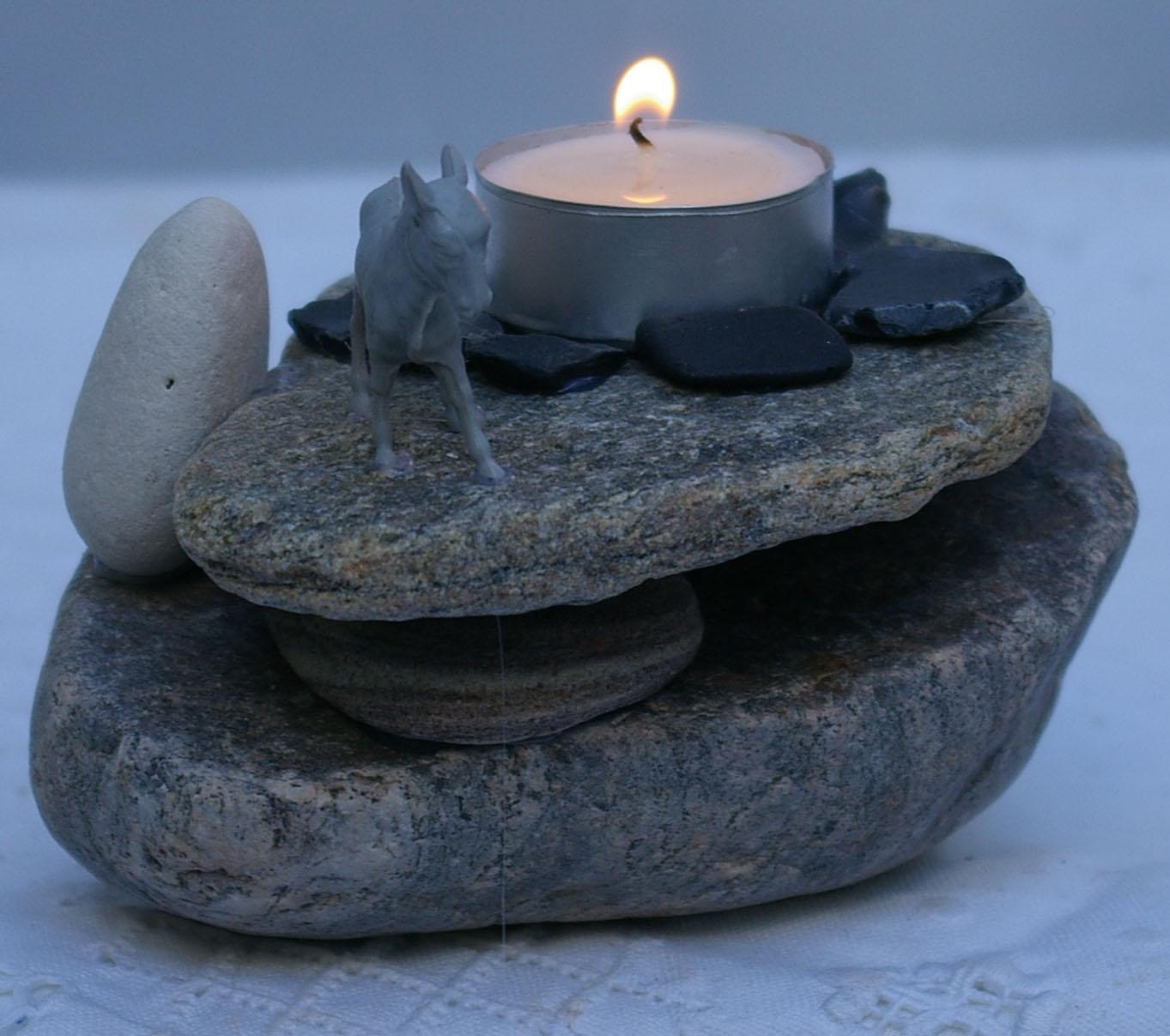 kerzen- und teelicht-ideen mit steinen | recyclingkunst und der