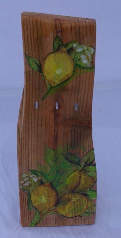 Schlüsselbrett Zitrone aus Treibholz recycling