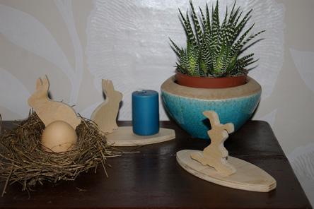 Osterhasen mit Kaktus  und Kerze f b