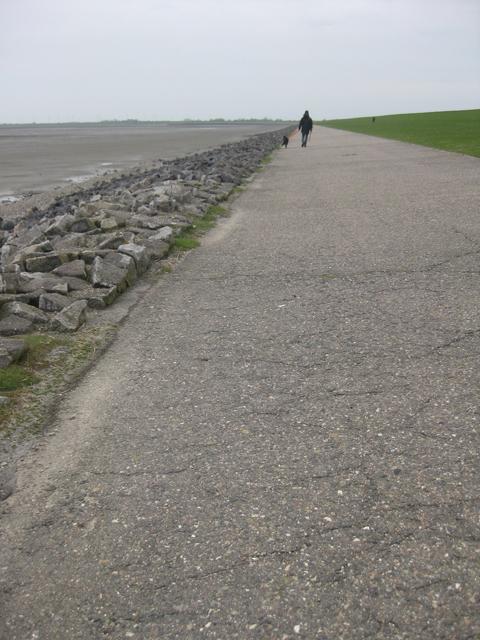 Spaziergang auf dem Deich, Wattenmeer, Deich