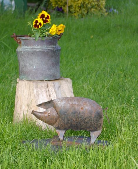 Schwein Gartendekoration Gartendeko Kupferkessel