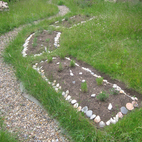 Muschelbeete Beeteinfassung Garten Landhausgarten Lavendel