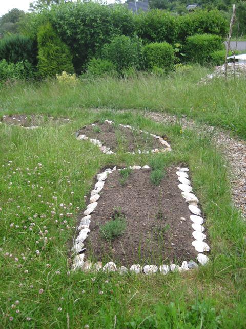 Muscheleinfassungen Lavendelbeete Landhausgarten