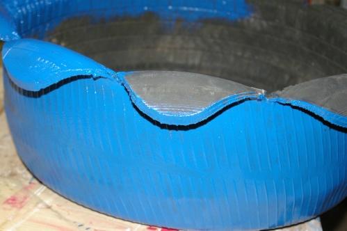 Reifen blau anmalen Garten