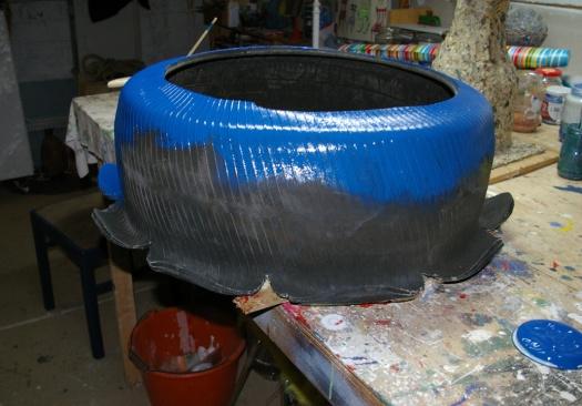 Reifen Blau Recycling für GArten Schlueter