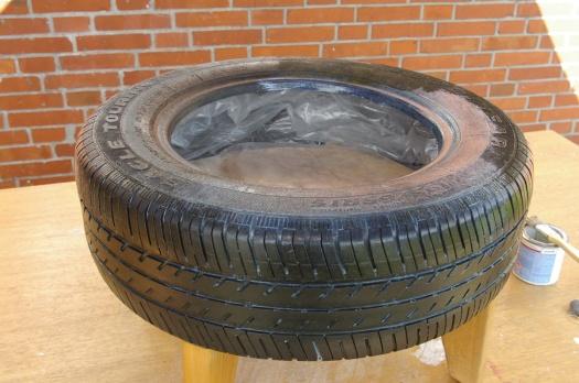 Reifen mit Füssen und Folie
