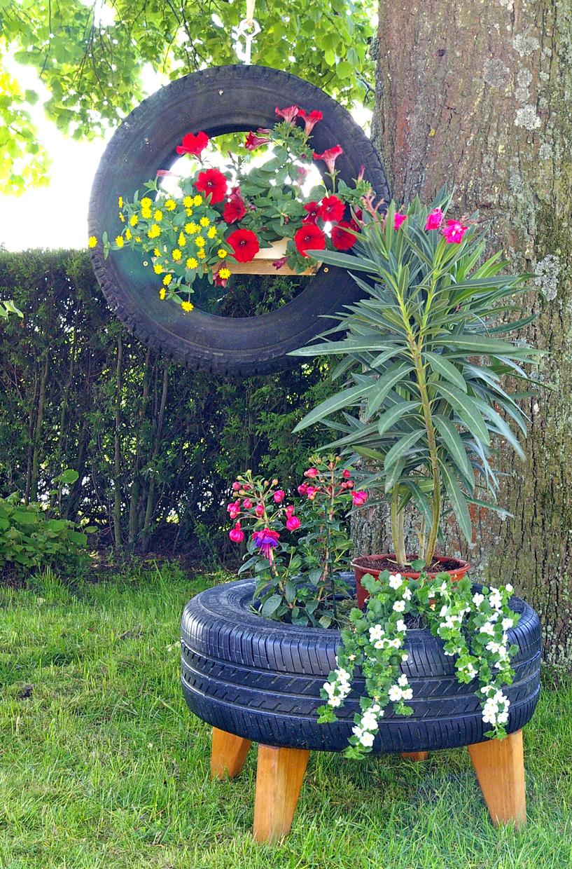 Alte autoreifen recyclingkunst und der versuch langsam und nachhaltig zu leben - Gartendekoration basteln ...