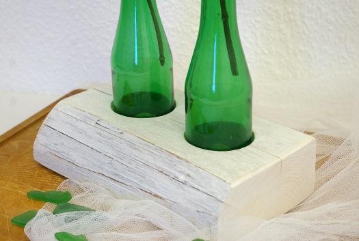 upcycling grüne Glasflaschen vase