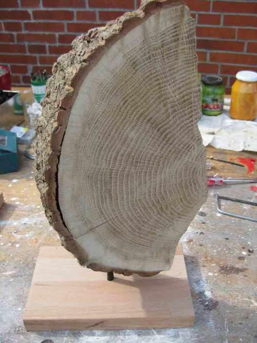 Baumscheibe auf Holzstaender