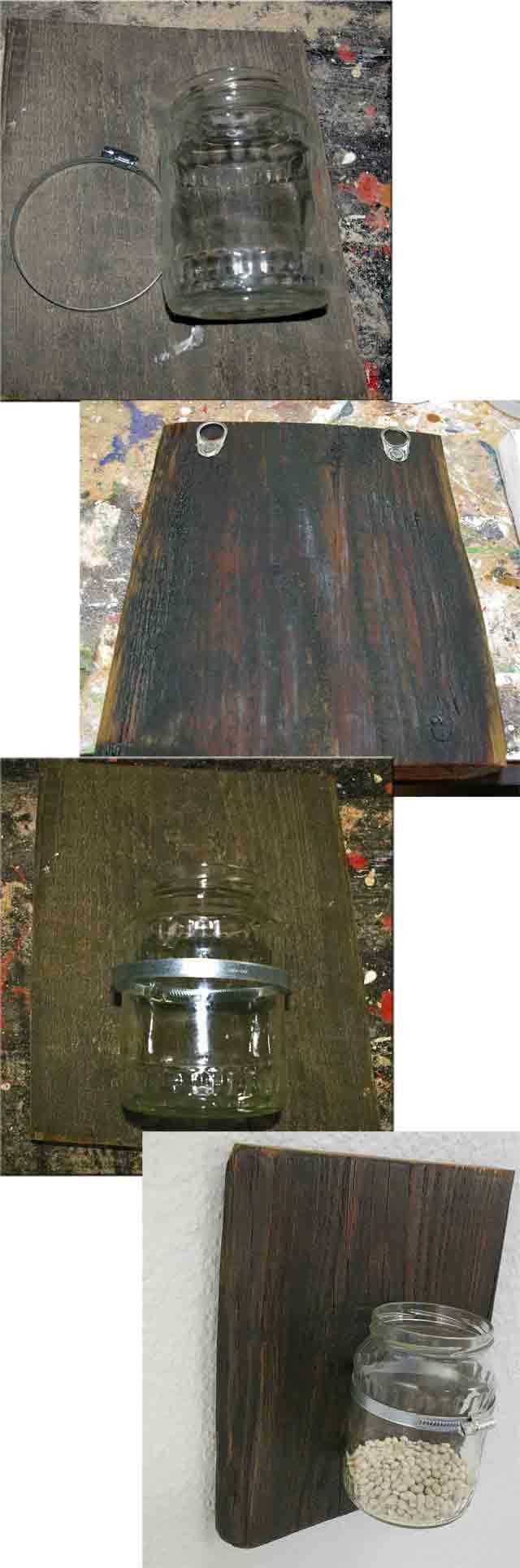 Wandvase recyclingkunst und der versuch langsam und - Brett an die wand anbringen ...