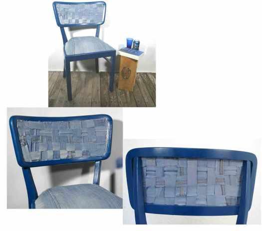 selbermachen Stuhl mit Jeans beziehen