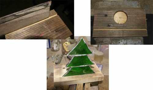 Collage tiffany Staender aus Holz