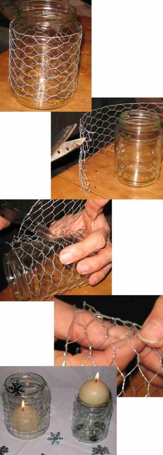 Kerzenhalter aus Glas und Draht basteln