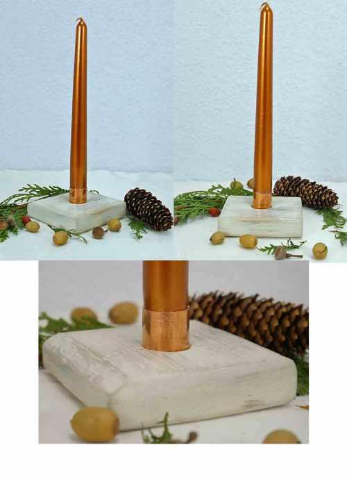 Kerzenhalter mit Holz und Kupfer basteln