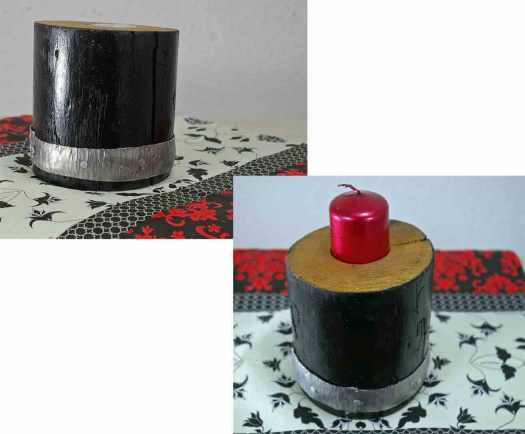 runder Teelichthalter mit Metallband