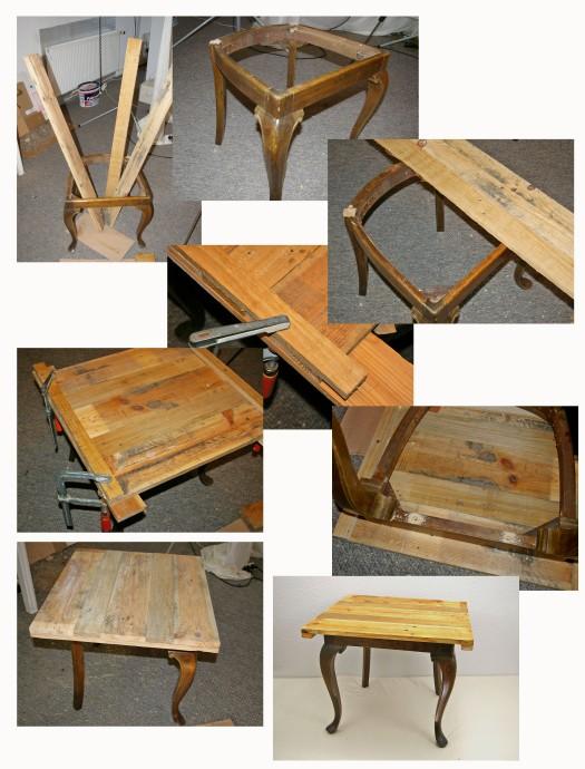 Tisch aus Stuhlbeinen