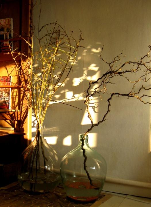 Ballonvasen mit Zweigen