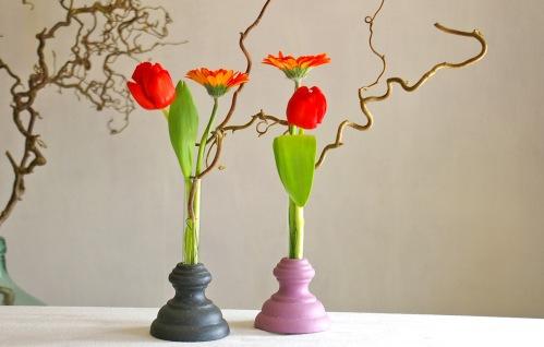 upcycling vase aus Gardinenstangenendstücken
