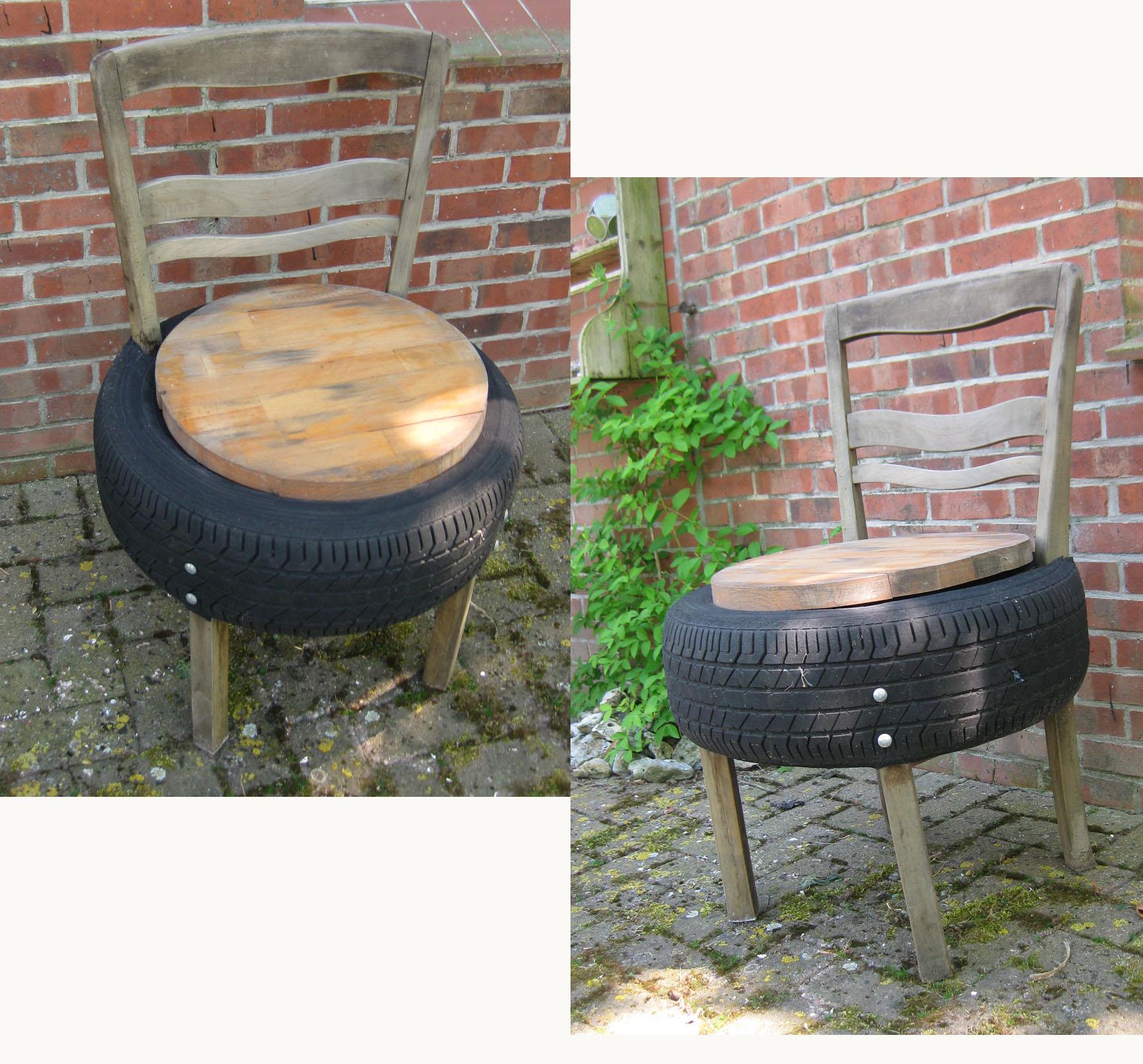 upcycling autoreifen zu gartentisch recyclingkunst und. Black Bedroom Furniture Sets. Home Design Ideas