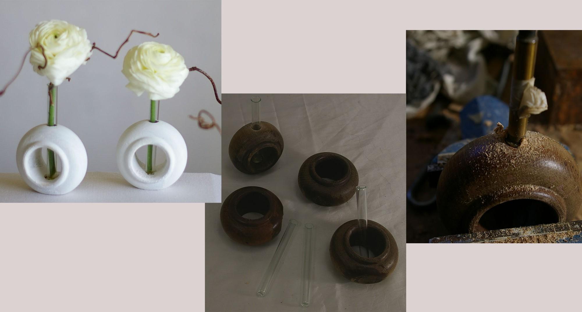 Reagenzglasvasen aus Gardinenringen