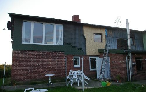 Dämmung der Fassade hinten