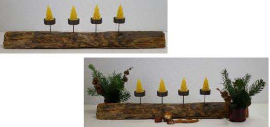Kerzenhalter als Adventsgesteck