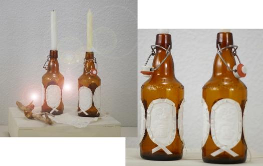 Flaschen als Kerzenhalter