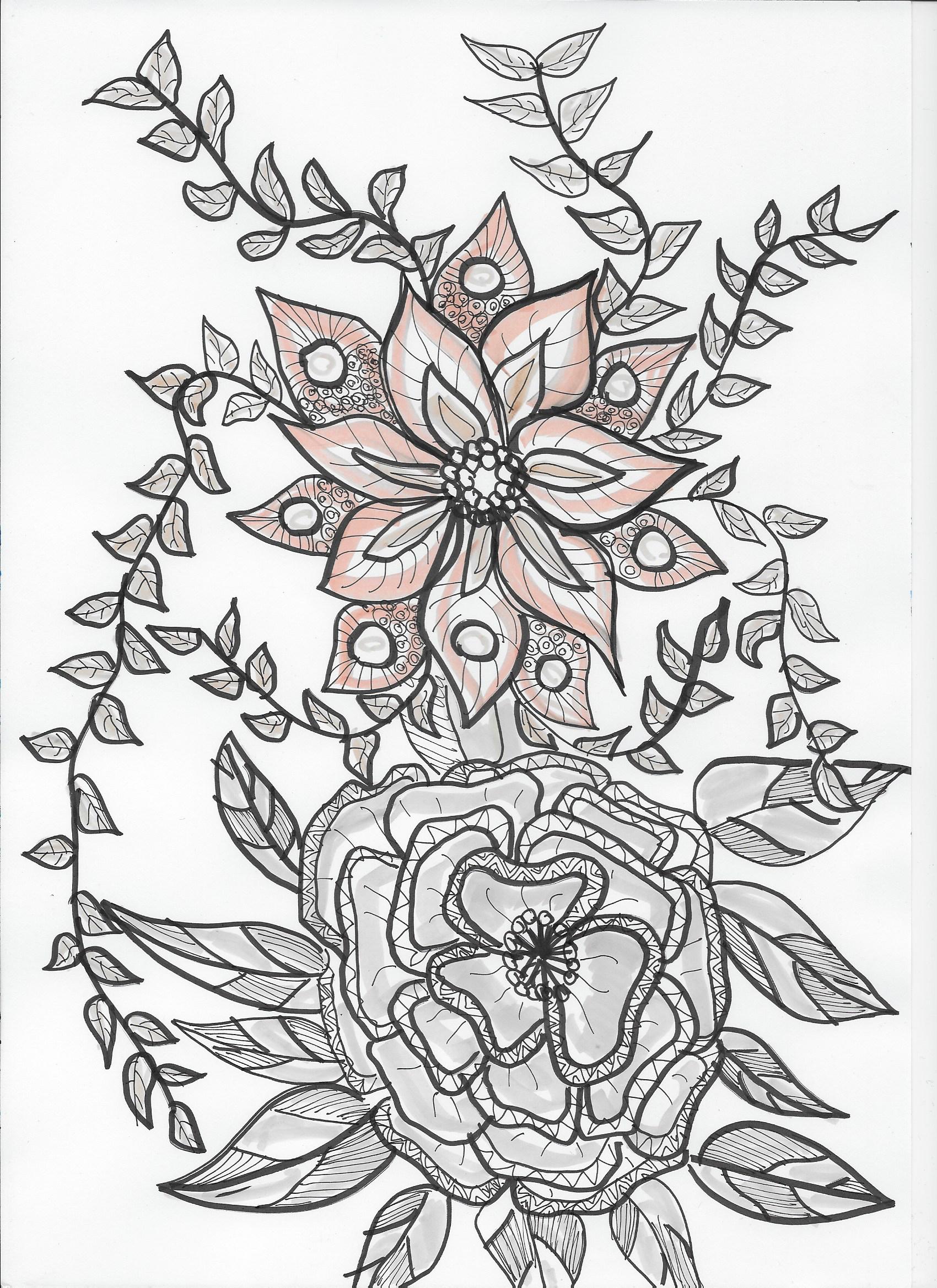 Blumen gezeichnet