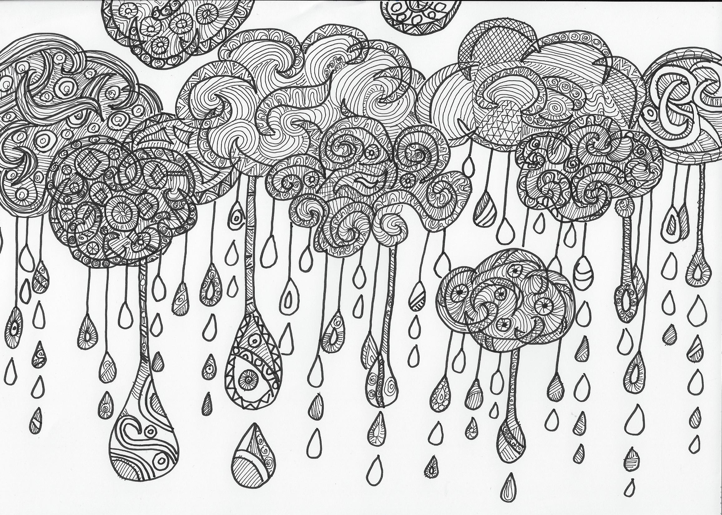 gezeichnete Regenwolken