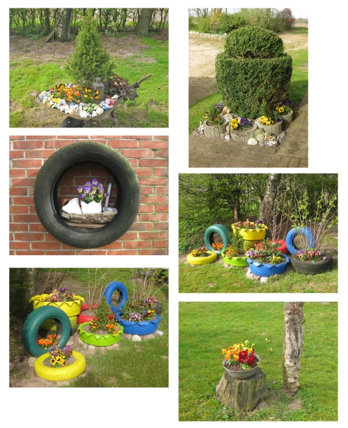 Deko ideen recyclingkunst und der versuch langsam und for Gartendeko autoreifen