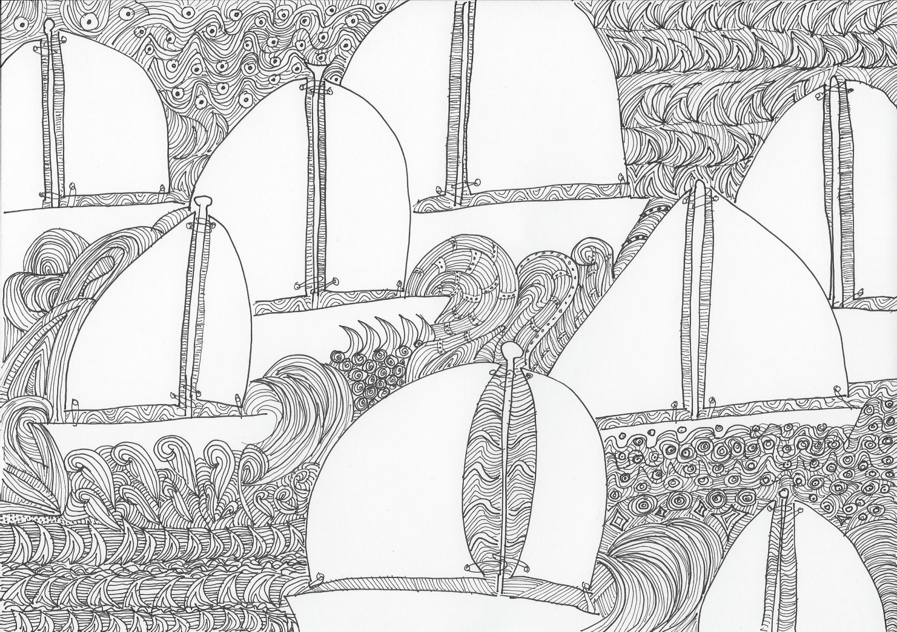 segelboot doodle, zeichnung, segelschiffe, Illustration