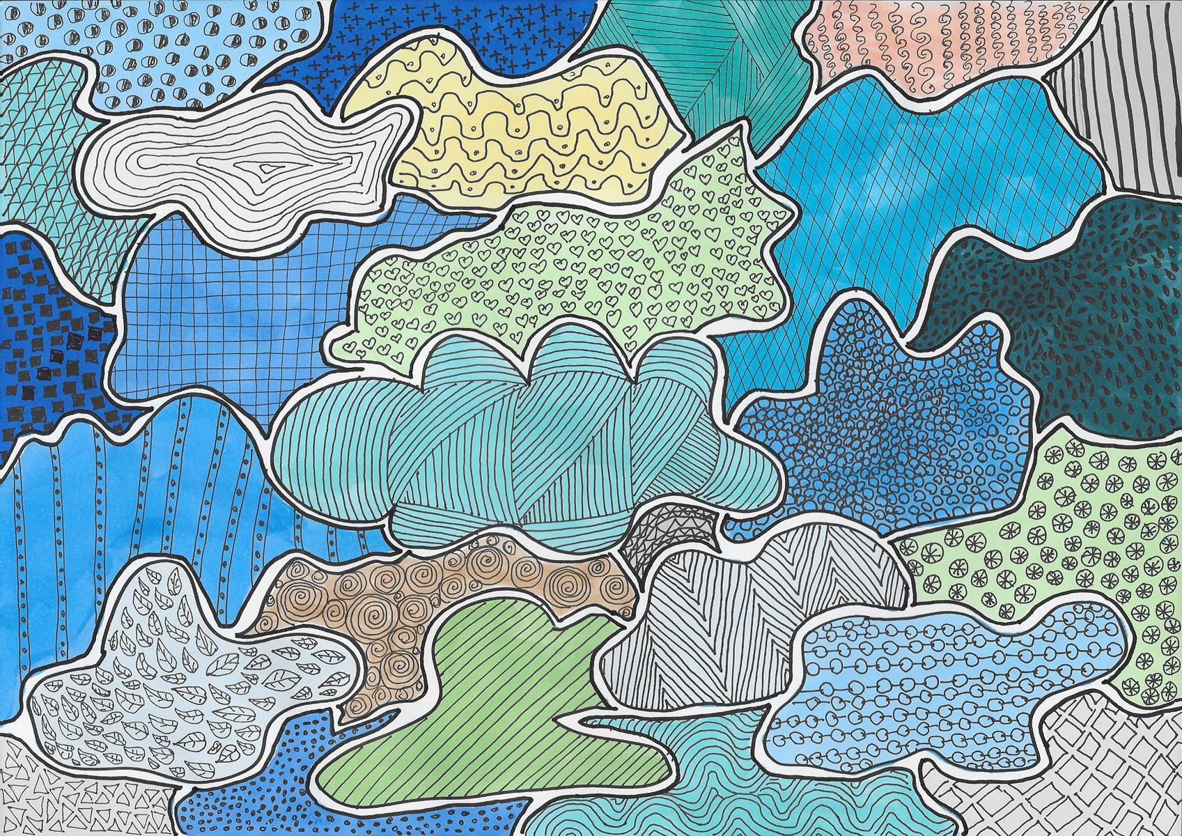 Wolken zeichnung, bild, Illustration