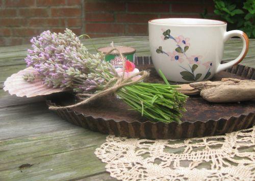Kaffeezeit, deko mit Lavendel