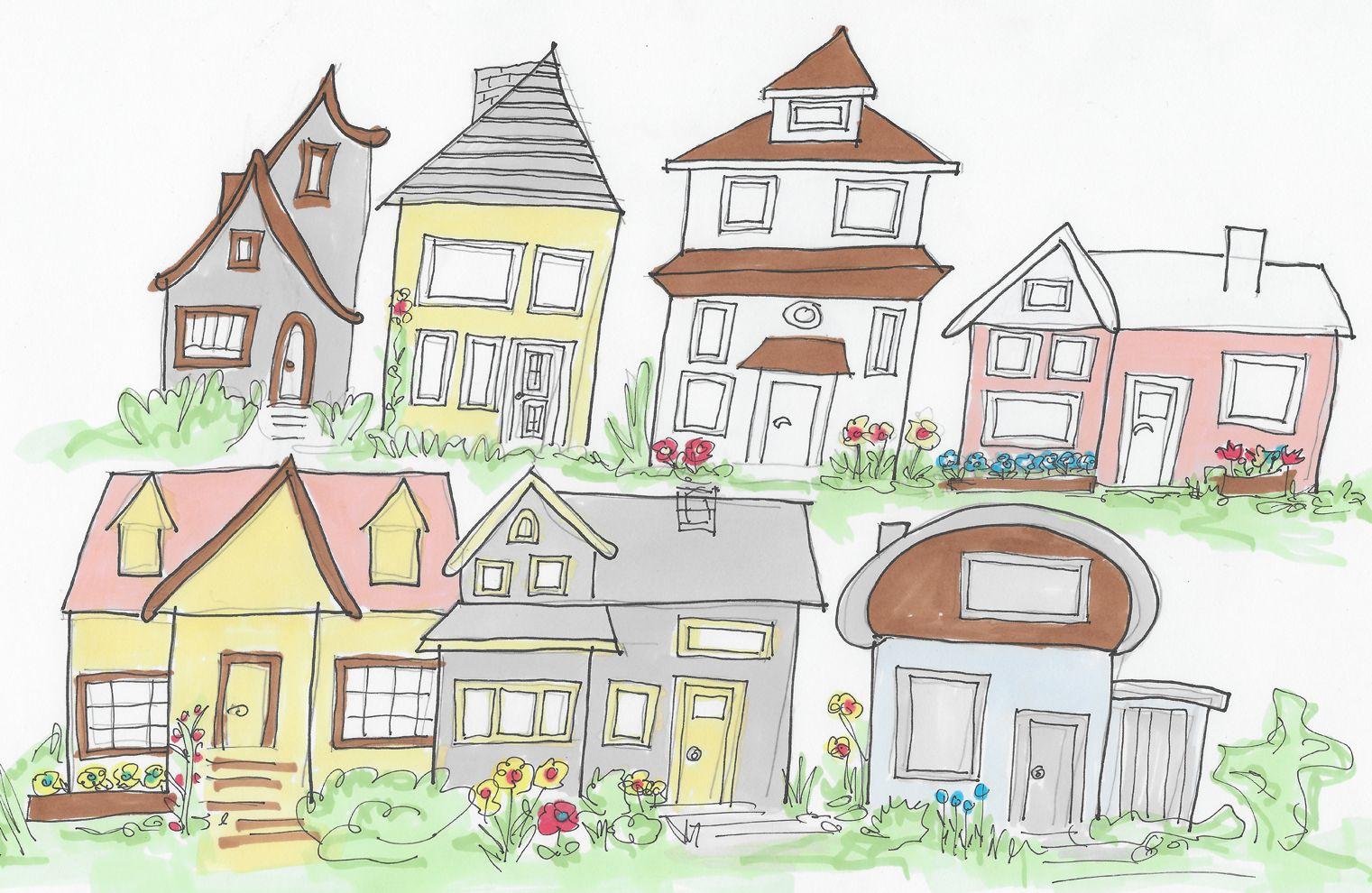 Skizze häuser