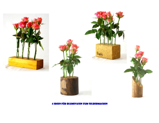 upcyclling Blumenvasen aus holz