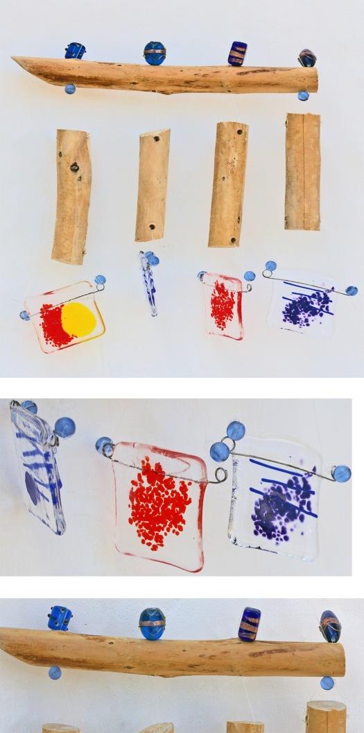 windspiel aus treibholz und glas