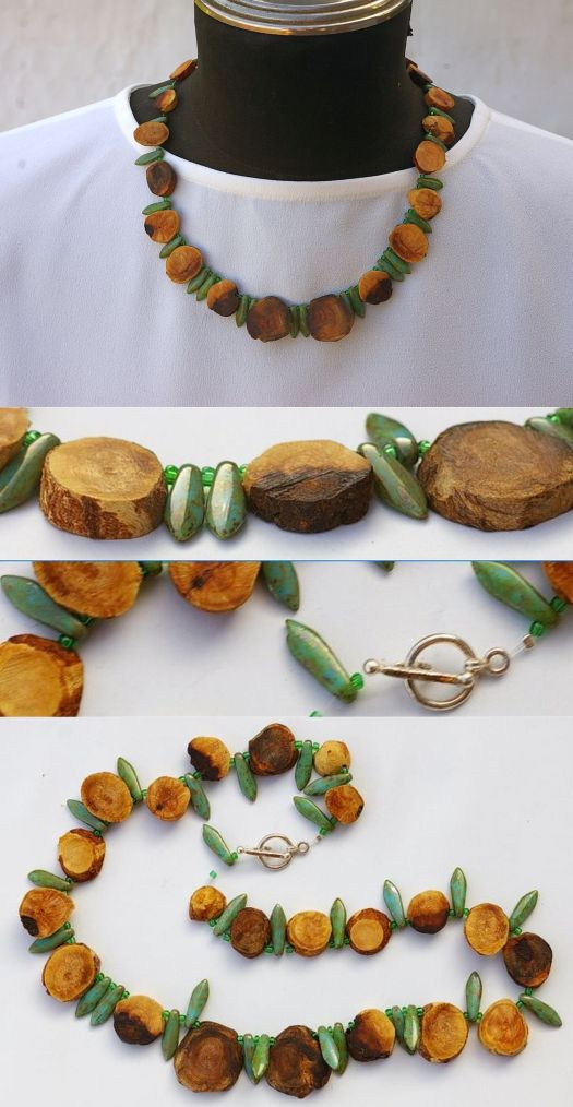 Holzperlen mit Keramikperlen