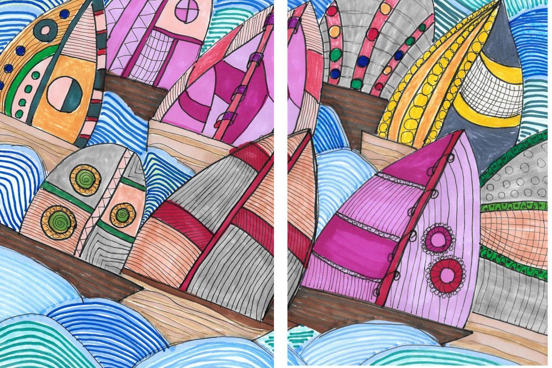 Zeichnung bunte Segelboote