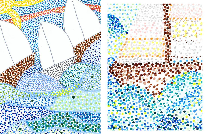segelbunte gepunktet gemalt