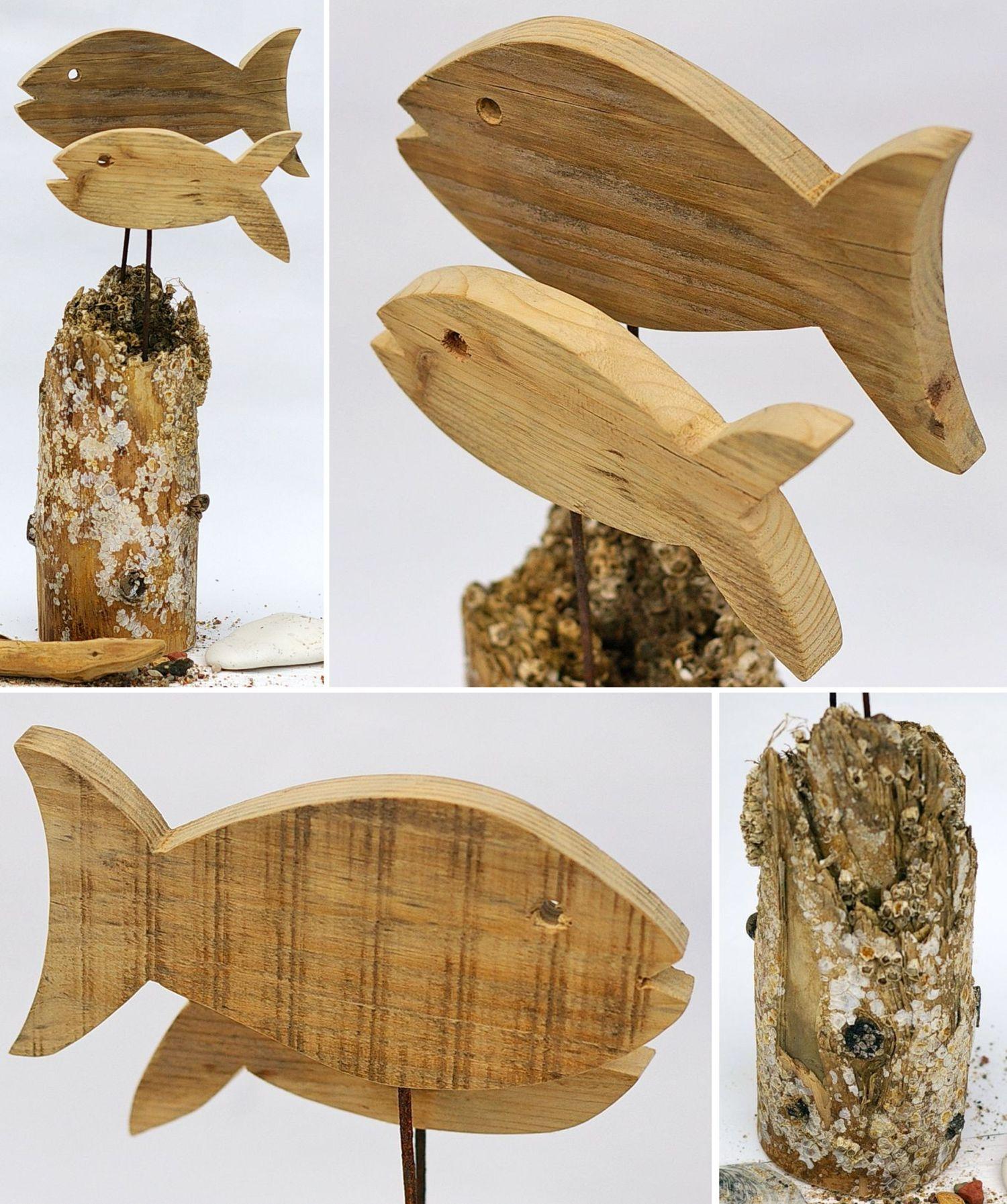 Deko-Objekte für Meerliebhaber, Nachhaltige Wohnaccessoires, Fische  auf Treibholz