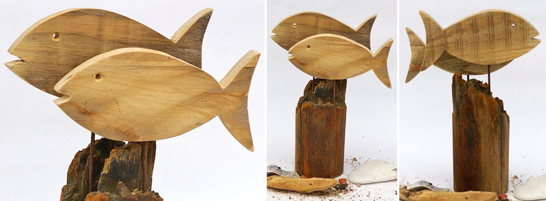 Fische aus Palettenholz auf Treibholzständern, Treibholz für maritime DEko