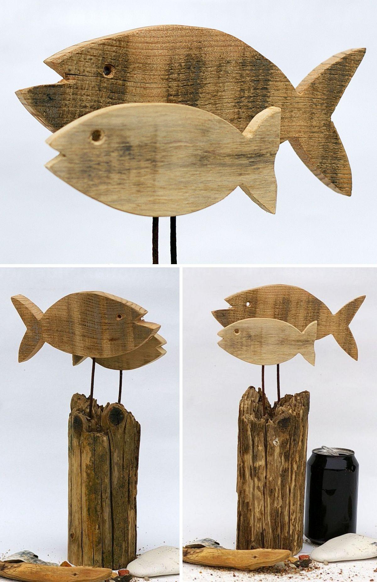 Treibholz Fische zur maritimen Deko, selbermachen schönes aus Seeholz