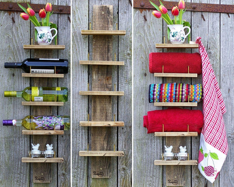 schmales Regal aus Palettenholz mit großen Schrauben zum Festhalten von Kleinigkeiten, diy-Idee