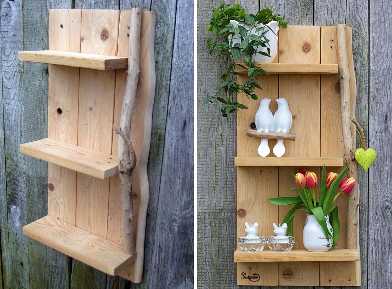 Regal aus Palettenholz mit einem wunderschönen Treibholz, tolle Diy-Idee