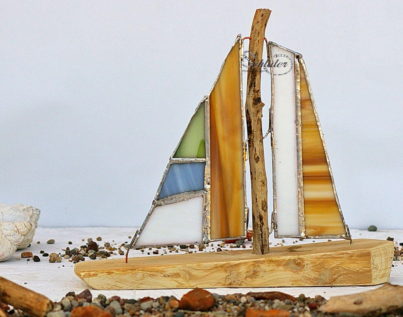 Segelschiffe selber basteln mit treibholz und glas