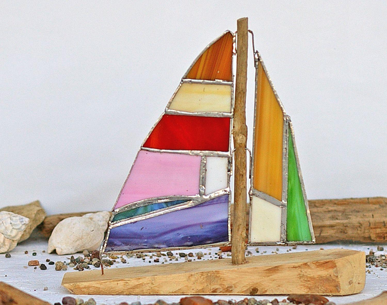 Segelschiff mit Tiffanyglas Segeln, diy,