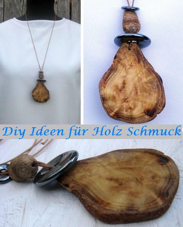 Modeschmuck kann man günstig selber machen, in dem amn Holz sammelt und alte Schmuckteile verwendet.