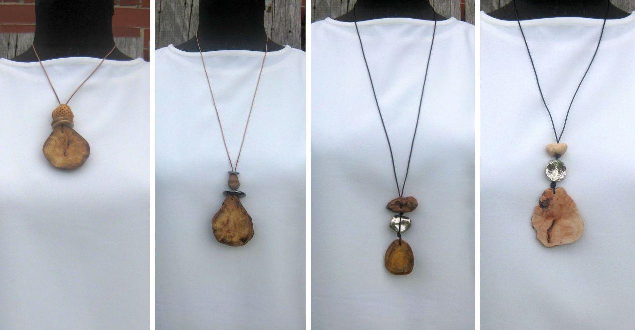 Halsketten aus Holz selbermachen, nachhaltiger Modeschmuck